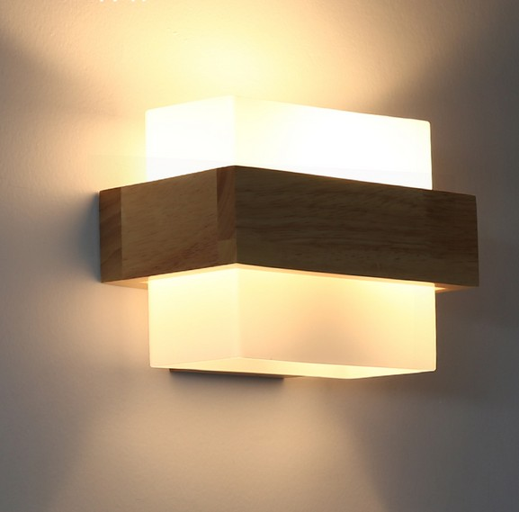 Creative Wooden Glass Wall Sconce Simple Modern LED Wall Light Fixtures For  Bedroom Wall Lamp Home Lighting Lamparas In Wall Lamps From Lights U0026  Lighting On ...