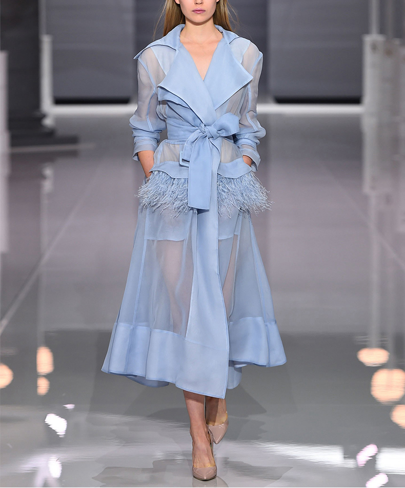 New Europe Runway Women Sexy Organza Through   Trench   Coat Feathers Tassel Belt Dress Summer Turn-Down Collar Long Coat Outerwear