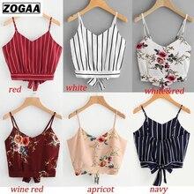 ZOGAA Fashion Womens Retro Floral Vest Chiffon Cropped Tank Tops Ladies Camisole Sleeveless Camis regata feminina 2019 New