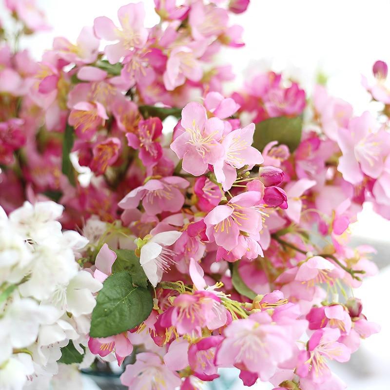 52 cm Yapay Kiraz Çiçeği Şube Ipek Erik Çiçeği çiçekler ev dekorasyon doğum günü partisi dekorasyon diy çelenk sahte çiçekler