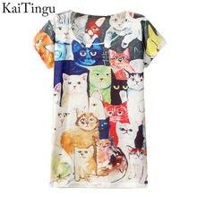 Новая мода весна лето, винтажные футболки с коротким рукавом с цифровыми принтами животных, хлопковые футболки с принтами