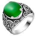 Women Mens Big Ring Silver Jewelry With Green Opal Stones Men Vintage Rings Bague Saphir Bleu Grosses Bagues CS02