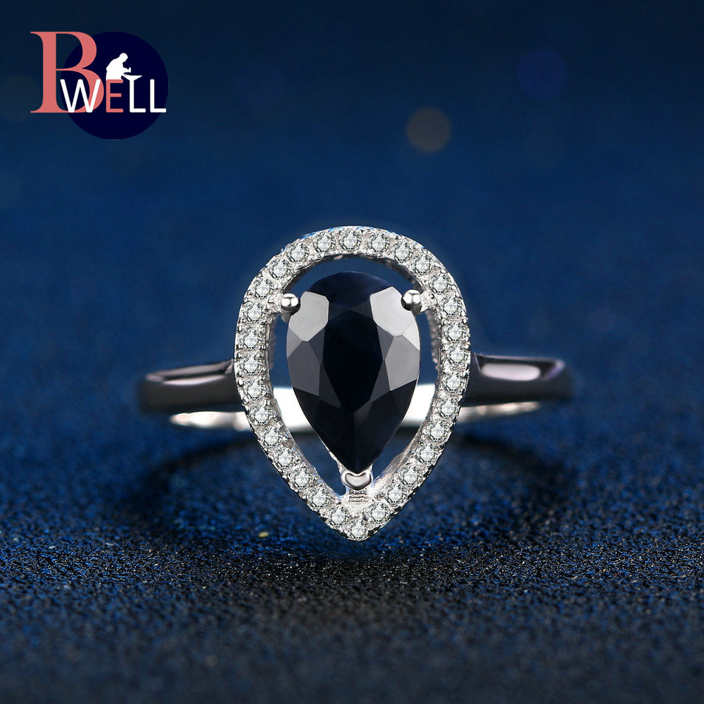 Jewelry & Accessories Methodical Bwell Natural Gemstone Dark Blue Sapphire Rings 925 Sterling Silver Fine Jewelry White Gold Anniversary Ring For Women Bwri054 Easy To Use