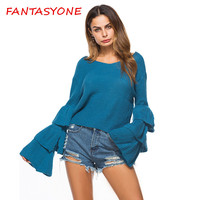FANTASYONE 2017 Women Autumn Winter Fashion V Neck Sweater Solid Long Sleeve Knitted Pullovers Flare Sleeve pull Casual Clothing