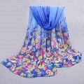 Spring Autumn Bufandas Scarf Women 2016 Silk Chiffon Female Bandana Scarf Flowers Shawls Scarves Wraps cape 160cm*50cm
