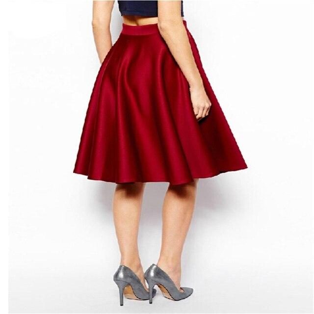 Wipalo черный красный 4XL Лето Wop Свободные Женские однотонные винтажное бальное платье юбка длиной до колена Femininos повседневная работа юбки vestidos