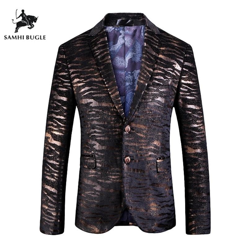 Suits & Blazers Jz Chief Black Velvet Blazer Men Luxury Suit Jacket Slim Fit Business Design Blazer Coat Jacquard Tiger Pattern Center Back Vent Men's Clothing