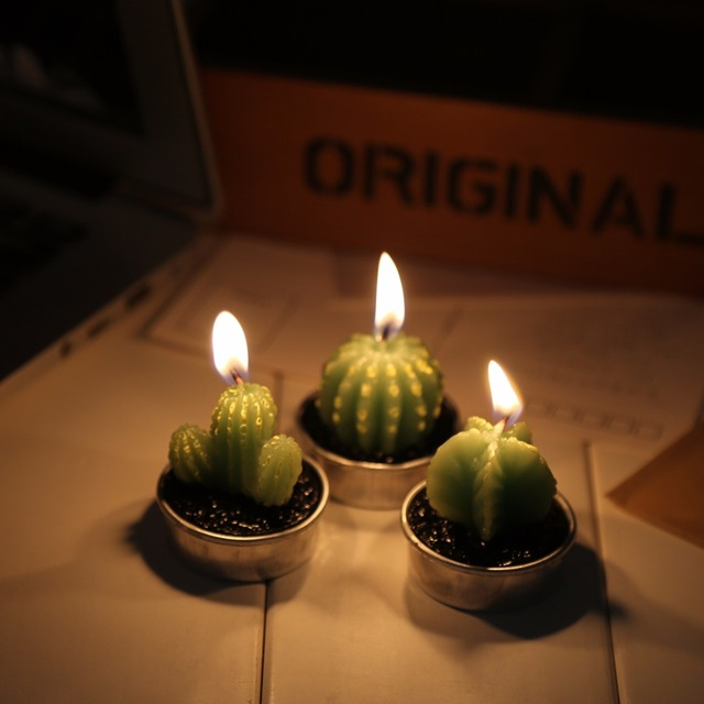 6Pcs/Set Mini Cactus Candle Table Tea Lights Home Garden Simulation Plant  Candle Decorative Party