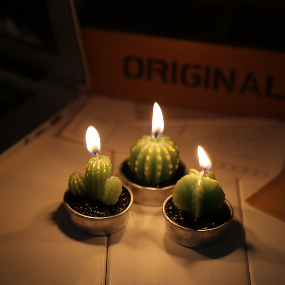 6pcsset mini cactus candle table tea lights home garden simulation plant candle decorative party - Candles Home Decor