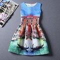 2017 sexy mulheres moda casual verão dress organza floral impressão 3d sem mangas plus size sexy party dress vestidos de festa do vintage