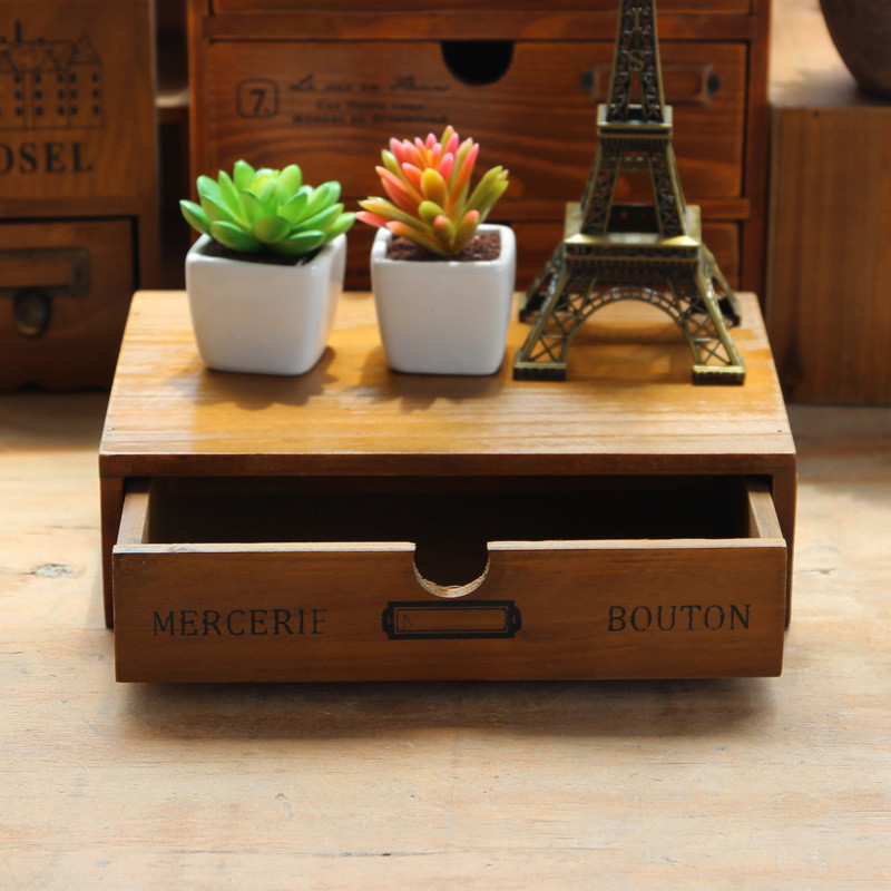 Shabby Wooden Dressing Case Multifunction Office Desktop Clean up Storage Boxes Home Decor Living Room Crafts Organizer