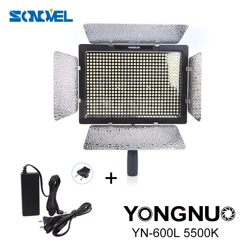 YN600L YN600 Camera Lights LED Video Light 5500K Color Temperature for Canon Nikon Camcorder photographic light+AC Power Adapter