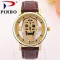 Nueva Marca de Relojes de Los Hombres Del Cráneo de Imitación Esqueleto Reloj de Cuero de Imitación Reloj Análogo de Cuarzo de Moda Para Hombre Causal Reloj reloj de hombre