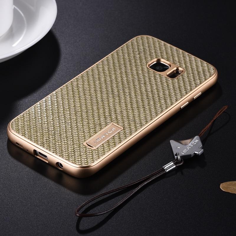imágenes para Metal de la manera Para Samsung Galaxy S7/S7 Borde cubierta de Lujo de Fibra de Carbono Real Capa Original Cajas Del Teléfono Móvil accesorios
