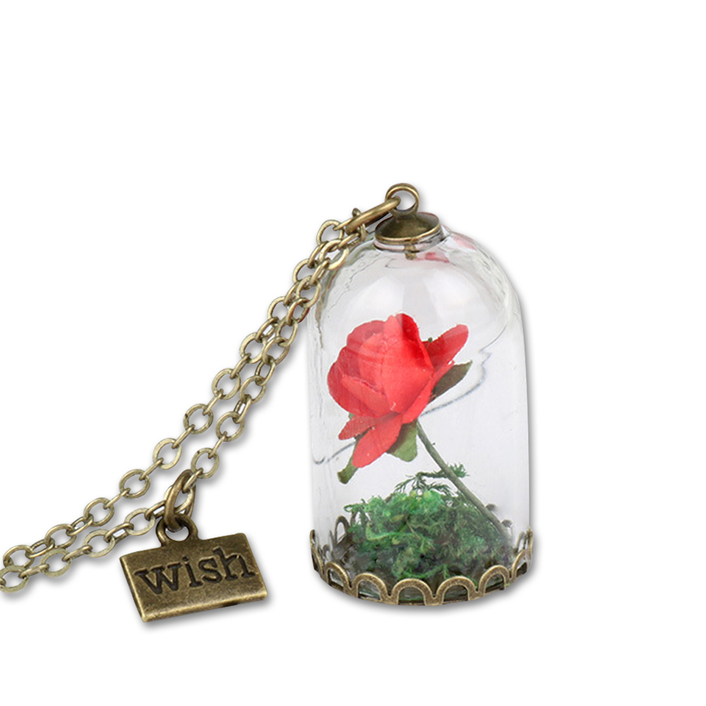 Beauty Beast Pendant Necklace Rose Glass Dried Flower Wish