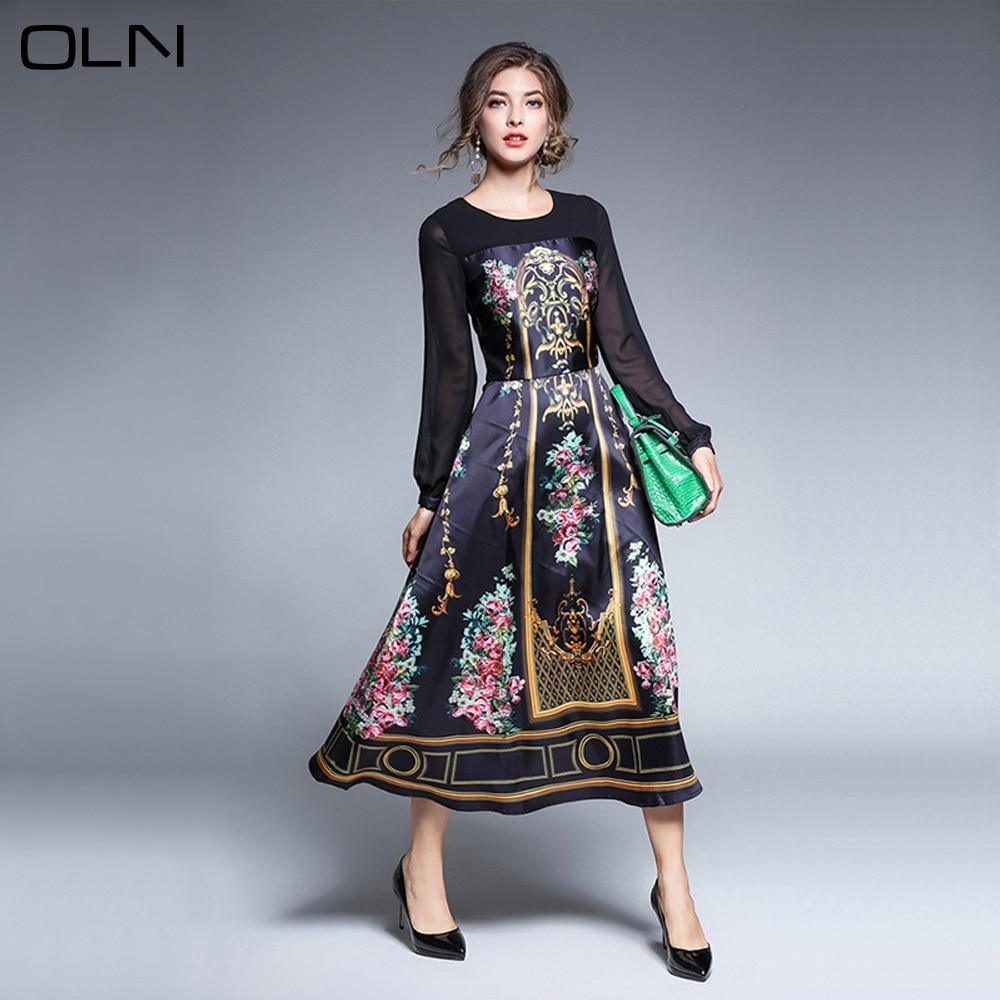 2017 Autumn New Fashion Vintage Flower Printed Formal Dresses