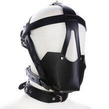 Leather Hood Mask Mouth Plug Bondage Slave Restraints Belt In Adult Games For Couples , Fetish Sex Toys For Women And Men