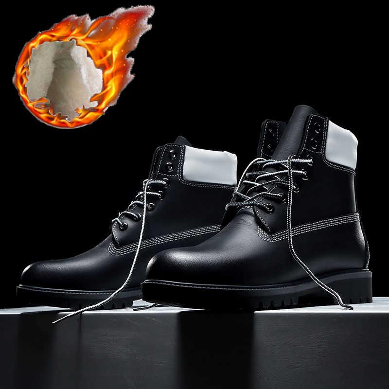 Модные черные ботинки для мужчин 2018 зима 2019 Весна мужские зимние ботинки  мужская обувь натуральная кожа db9cb1cedfb