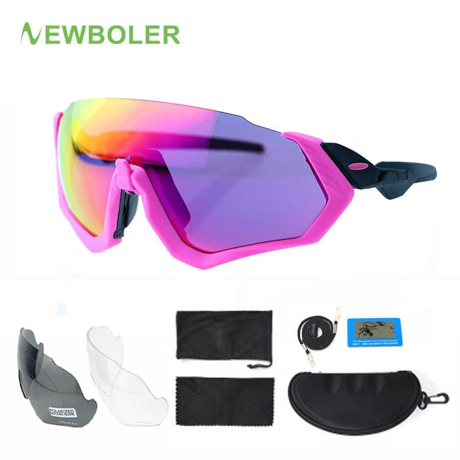 6ee14f9a62b5 NEWBOLER 2019 Polarized Cycling Sunglasses For Women Pink MTB Bike Glasses  3 Lens Sports Eyewear UV400