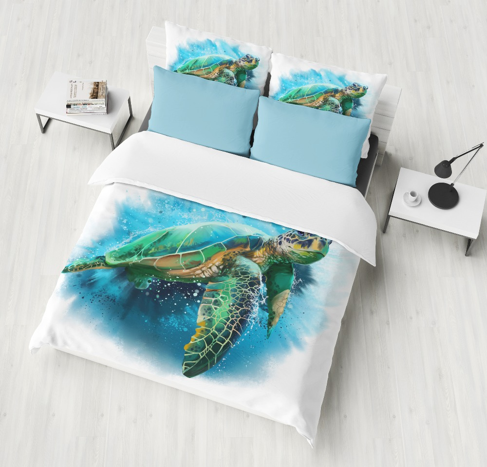 Sea turtle 3D Bedding Set Print Duvet cover set Twin queen king Size Beautiful pattern Real effect lifelike kid/adult bedclothesSea turtle 3D Bedding Set Print Duvet cover set Twin queen king Size Beautiful pattern Real effect lifelike kid/adult bedclothes