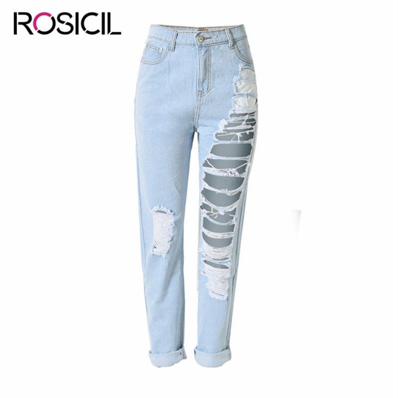 Fashion Women's Trousers Femal High Quality Cotton Denim Pencil Pants Spring Summer Leggings Plus Size Women Hole Loose Jeans