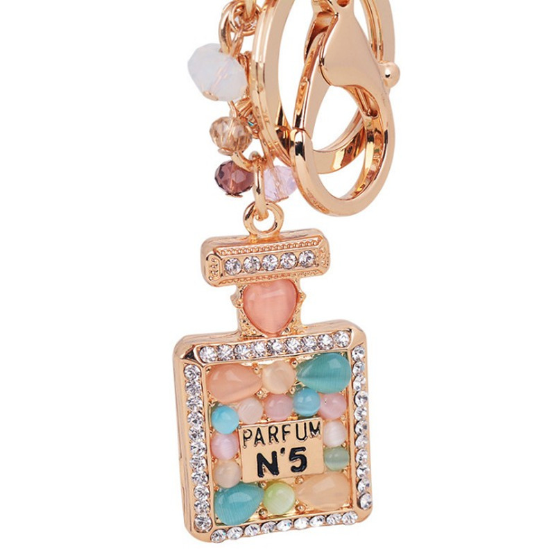 High Quality Women Keychain Fashion Jewelry Bag Charm Rhinestone Opals Keyring Key Holder Creative Perfume Bottle Key Chain Ring
