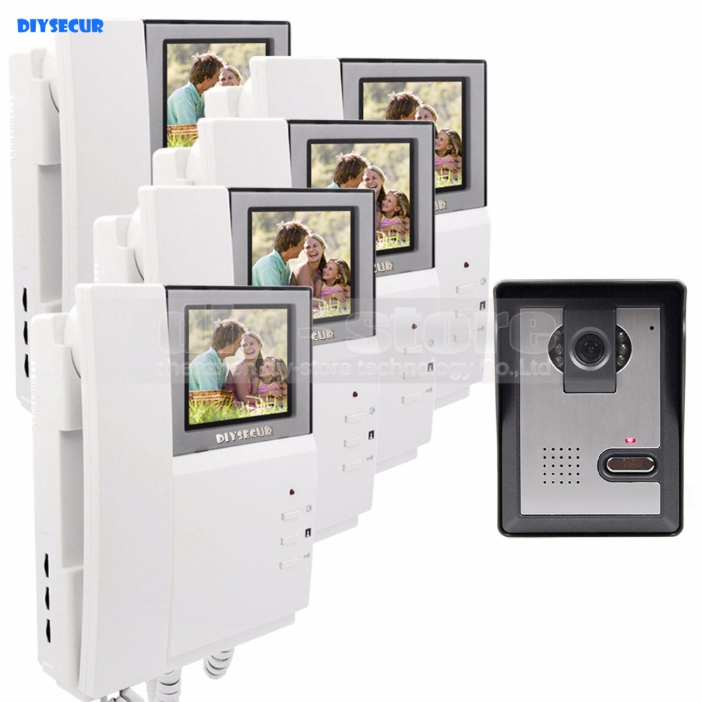 DIYSECUR 4.3inch Video Intercom Video Door Phone 600TV Line IR Night Vision Outdoor Unit for Home / Office Security System 1 V 5