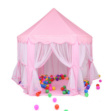 купить Foldable Girl Princess Pink Castle Tents Playhouse Ball House Children Playing Sleeping Tent Indoor Outdoor Portable Play Tent дешево