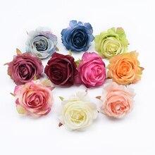 2 шт., натуральная шелковая головка розы, цветы на стену, скрапбукинг, домашний декор, свадебная брошь, свадебные аксессуары, распродажа, искусственные цветы