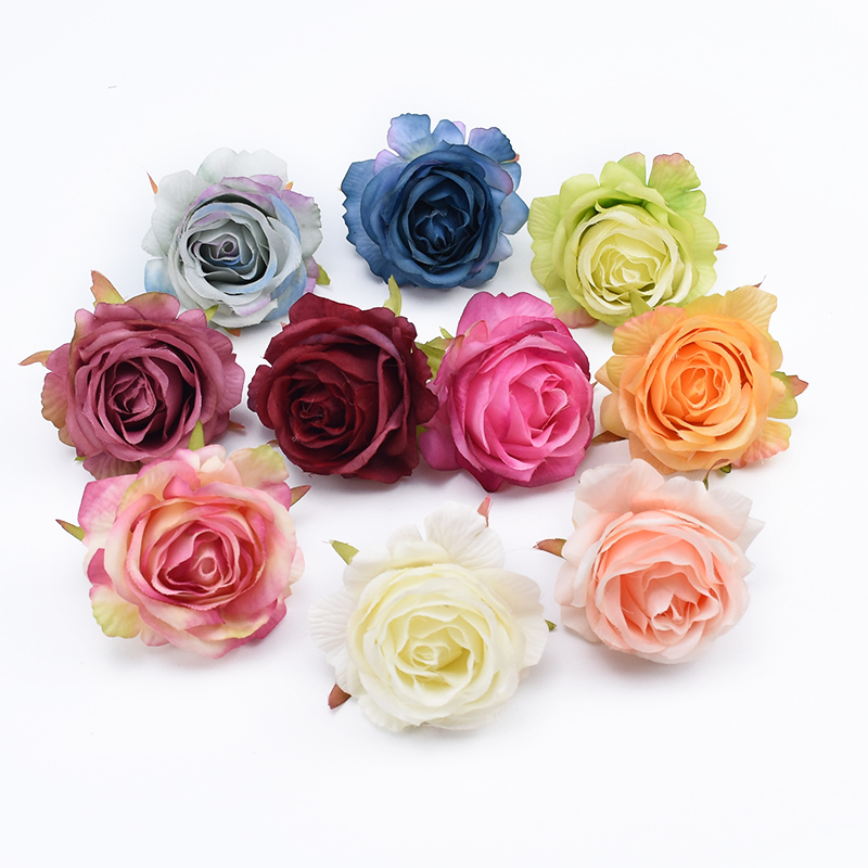 2pcs Natural Silk roses head flowers wall scrapbooking home decor wedding brooch bridal accessories clearance artificial flowers