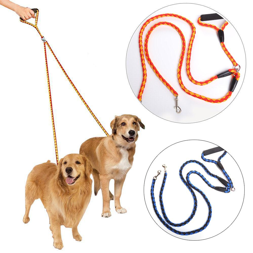 Double Leashes Braided Tangle Dog Cat Pet Harness Walking Training Two Dogs Rope Leash With Handle Harnais Chien Hondenriem