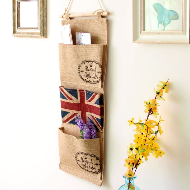 Home Decorative Toys Organizer Flag Hanging Storage Bag Jute Wall Pocket 3 Pockets-in Storage Bags from Home u0026 Garden on Aliexpress.com | Alibaba Group  sc 1 st  AliExpress.com & Home Decorative Toys Organizer Flag Hanging Storage Bag Jute Wall ...