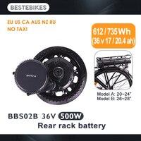 Двигатель bafang BBS02B 36 V 500 w женский Электрический велосипед conversion kit elektrische fiets 20/24/26/28 700C 36v17ah/20.4ah ЕС США нет налога