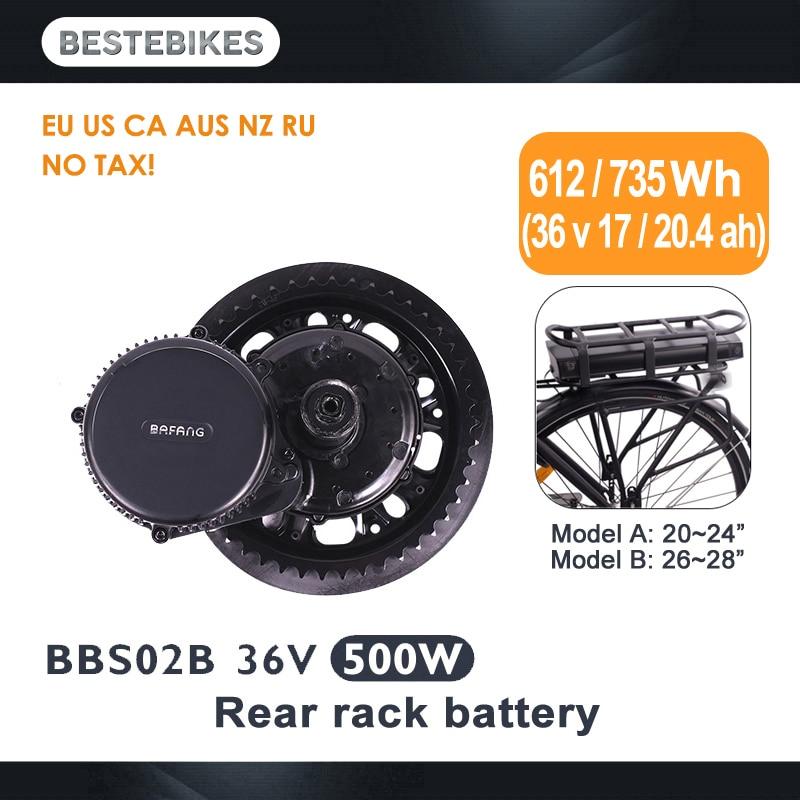 Bafang motor BBS02B 36 V 500 w lady kit de conversion de vélo électrique elektrische fiets 20/24/26/28 700C 36v17ah/20.4ah EU US pas de taxe