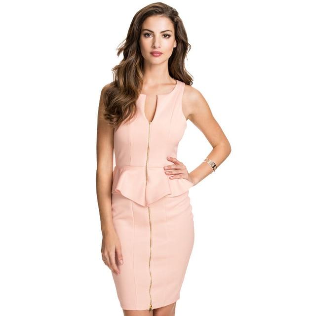 Sexy Peplum Dress 2017 Fashion OL Dress Sleeveless Women Dress With Zipper  New Style V-Neck Elegant Ladies Dress Vestidos C1925 69b028fb287d