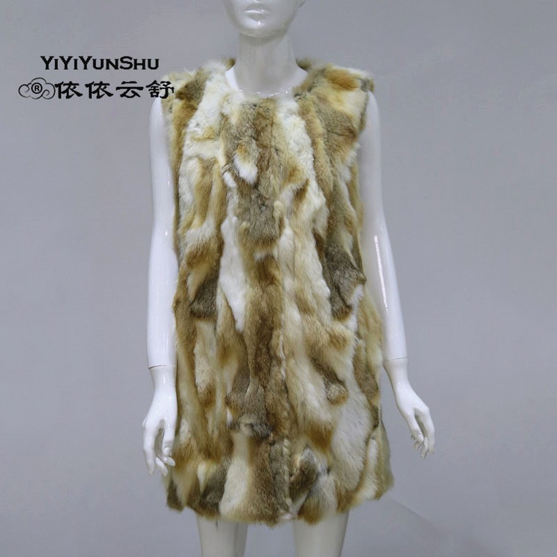 YIYIYUNSHU Vest Women Jacket Natural Fur Female Rex-Rabbit-Fur Thick Hot-Sale Winter