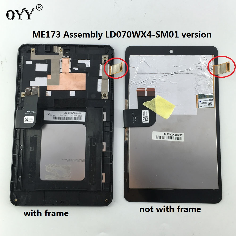 LCD Display Panel Screen Monitor Touch Screen Digitizer Glass Assembly For Asus MemoPad HD7 ME173 ME173X K00B LD070WX4-SM01 used parts lcd display monitor touch screen panel digitizer assembly frame for asus memo pad smart me301 me301t k001 tf301t