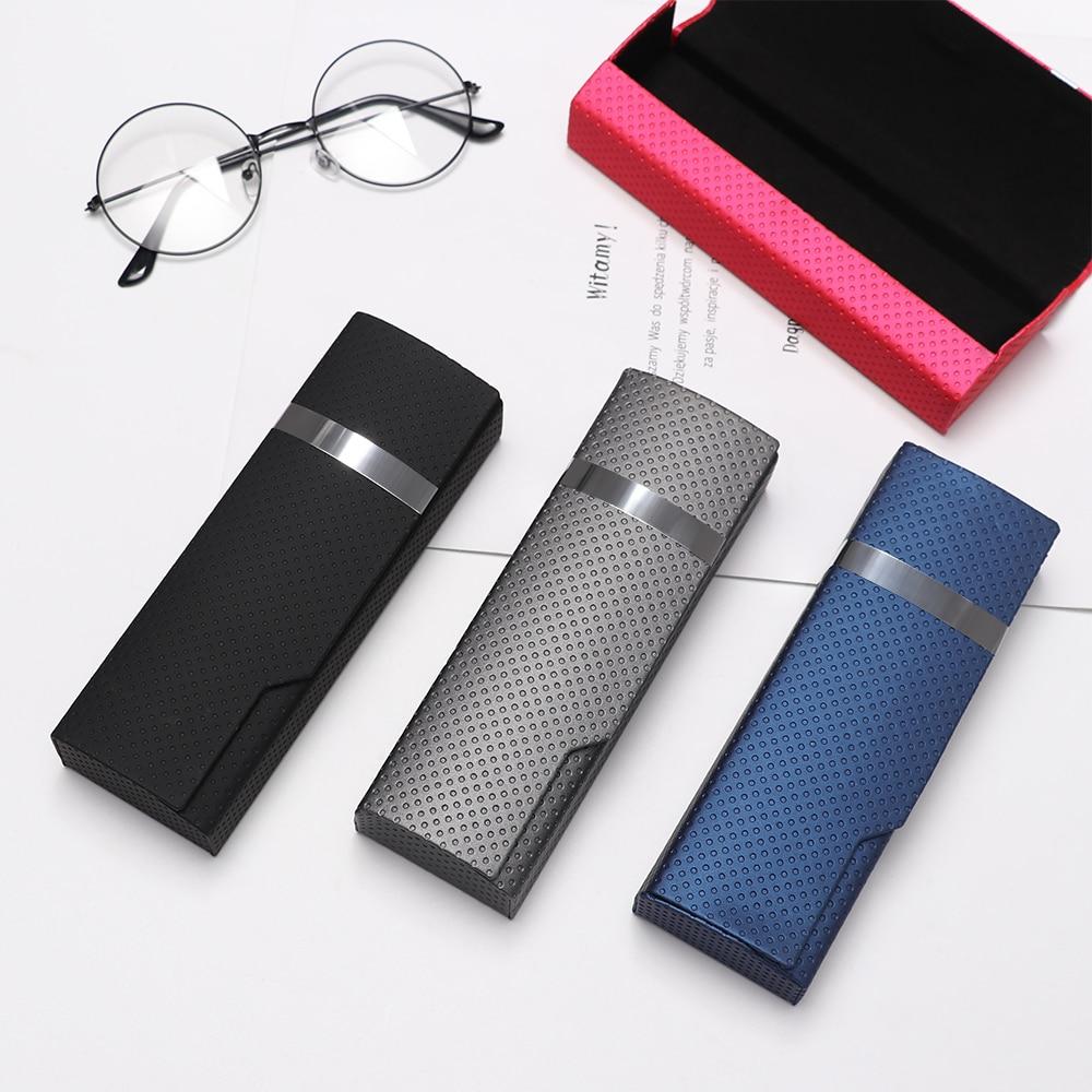 New Fashion Spectacle Case Unisex Portable Imitation Wood Grain Sunglass Box Glasses Women Hard Handmade Square Fold Box Men