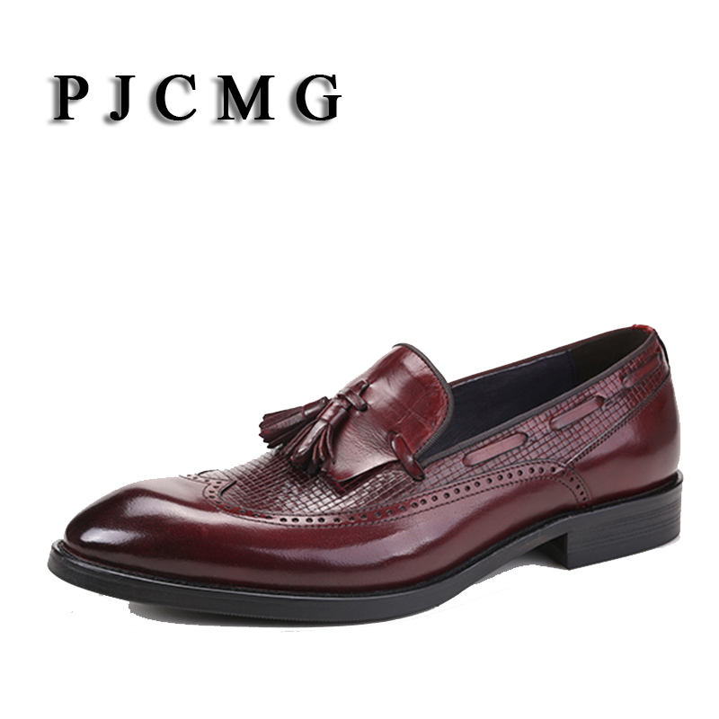 PJCMG Fashion Comfortable Black/Red Slip-On Pointed Toe Genuine Leather Flat With Tassel Casual Classic Gentleman Shoes british college style genuine leather sexy pointed toe pumps fashion tassel slip on red black beige square med with women shoes