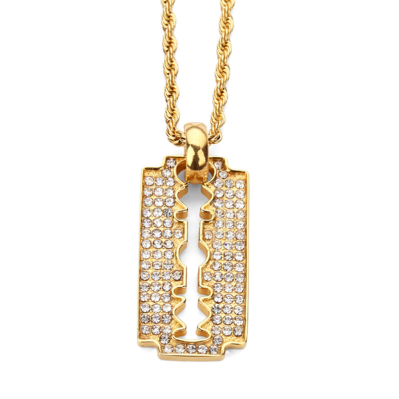 Fashion Razor Blade Pendant Necklaces Gold Plated Steel Full Rhinestone Personalized Design Punk Rock Mens