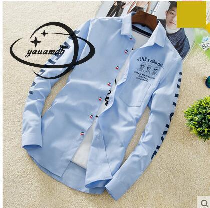 YAUAMDB men shirt 2017 autumn winter size M-4XL cotton male letter long sleeve shirt slim casual turn-down collar clothing y43 3
