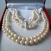 """Двухрядное, размером 7-8 мм жемчуга акойя качества с морскими жемчужинами ожерелье 17-18"""""""