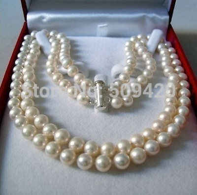 "8MM Gray Akoya Cultured shell Pearl Necklace 18/""AA Rare"