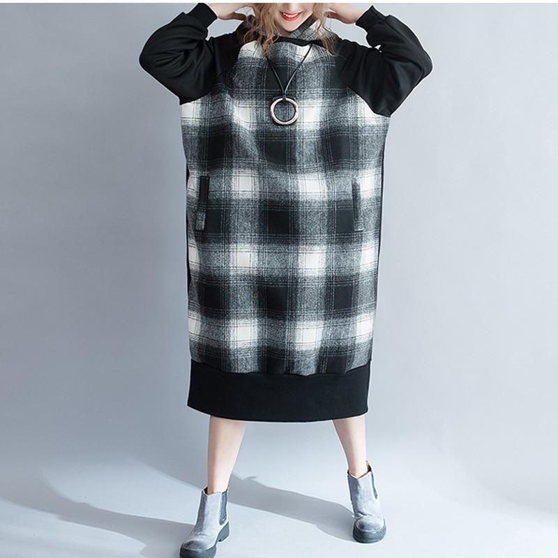 Grande taille à capuche épaissir chaud Plaid pull robe hiver surdimensionné manches longues à carreaux décontracté sweat lâche pulls