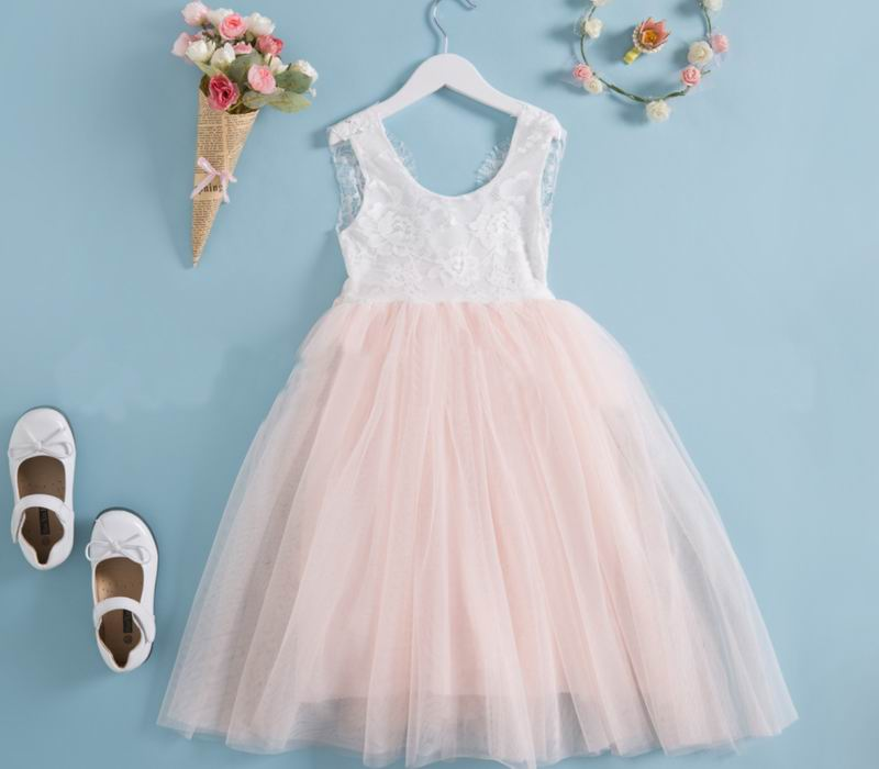 Princess girls wedding dress with sashes children lace top tulle ...