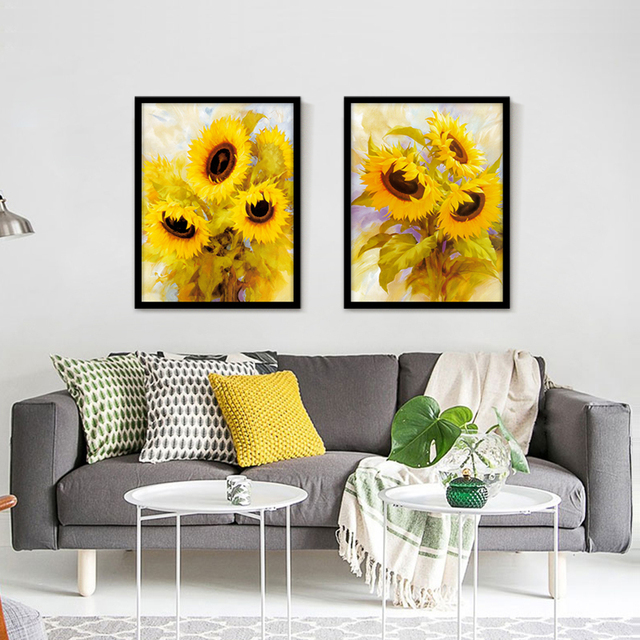 FULL HOUSE Modern Beautiful Sunflower Art Print Posters Canvas ...
