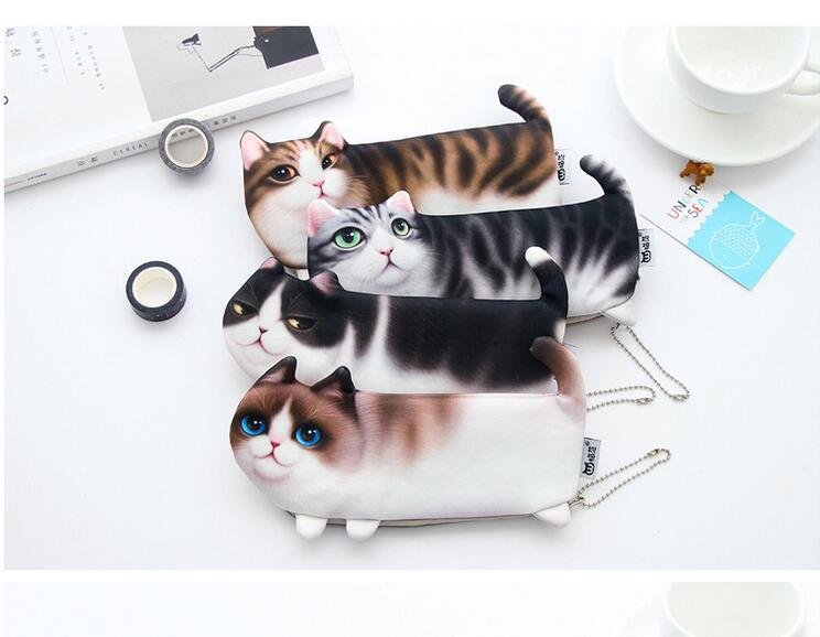 Cute Cosmetic Cases 3D Cat Cosmetic Bag Women Makeup Cases Canvas Pencil Bag For Child Travel Storage Organizers Cartoon