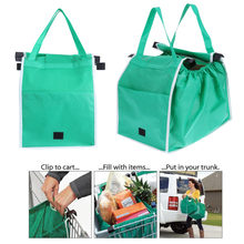 1pc Shopping Bag Foldable Eco-friendly Reusable Large Trolley Supermarket Large Capacity Tote Bags(China)