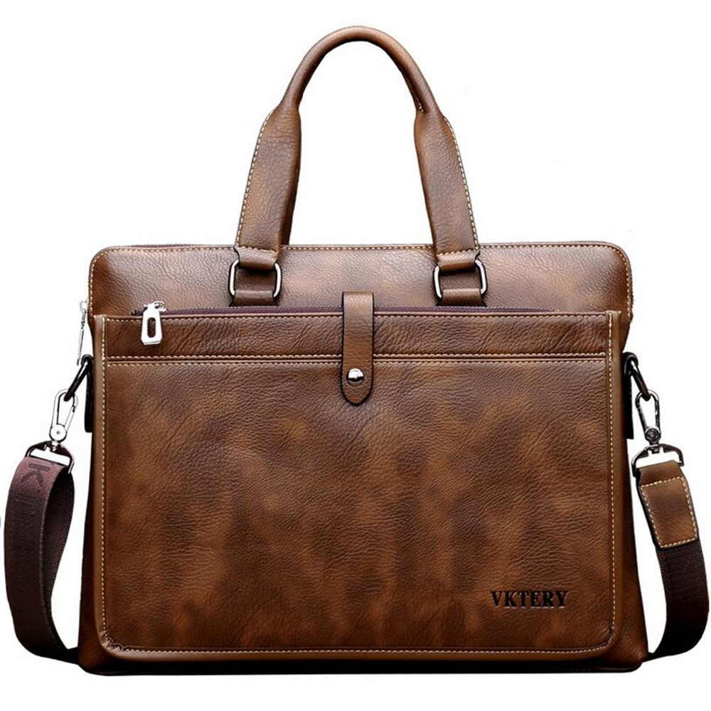 VKTERY brand PU leather men briefcare high quality commercial soft PU leather business laptop bag handbag