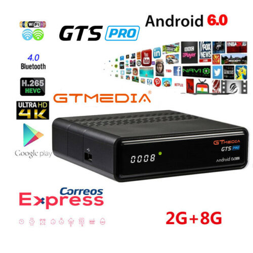 GTMEDIA GTS PRO Smart TV BOX Android 6.0 récepteur satellite 2 GB + 8 GB S905D Quad-Core WIFI 2.4G 4 K 3D Google Netflix Android Box
